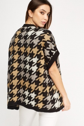 Houndstooth Knitted Open Cardigan