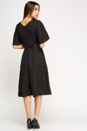 Textured Belted Swing Dress