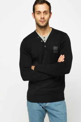 Contrast Insert Casual Sweater