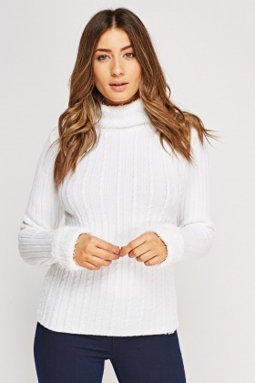 Eyelash Trim Roll Neck Jumper