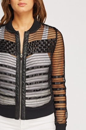 Insert Ribbon Mesh Casual Jacket