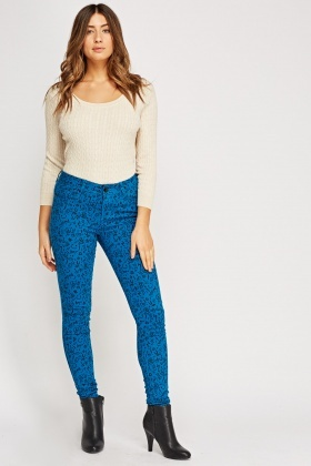 Printed Skinny Leg Trousers