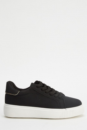 Faux Leather Flatform Trainers