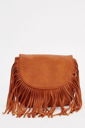 Fringed Round Flap Small Shoulder Bag