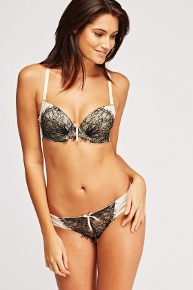 Lace Insert Striped Bra And Brief Set