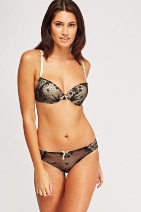 Lace Overlay Bra And Brief Set