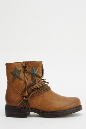 Star Studded Faux Leather Boots
