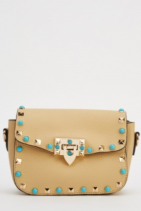 Studded Trim Faux Leather Shoulder Bag