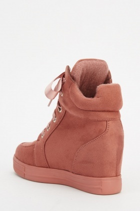 Suedette Wedged Hight Top Trainers