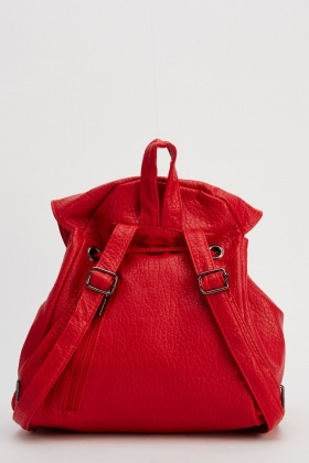 Textured Faux Leather Backpack