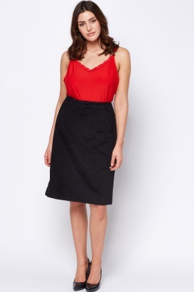Fleece Woven Black Skirt