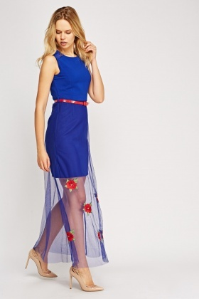 Mesh Overlay Embroidered Maxi Dress
