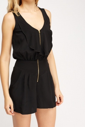 Zip Up Ruffle Playsuit