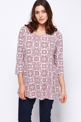 3/4 Sleeve Mix Print Top