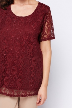Burgundy Glittered Lace Overlay Top