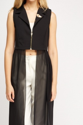 Contrast Mesh Zip Up Sleeveless Cover Up