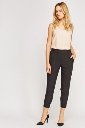Grey Casual Straight Leg Trousers