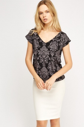 Metallic Print Casual Top