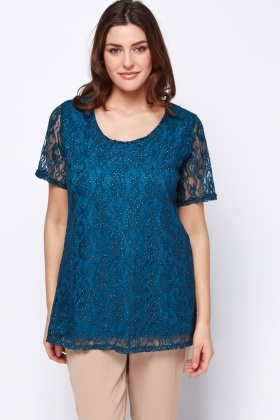 Teal Glittered Lace Overlay Top