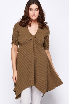 Twist Front Asymmetric Hem Tunic