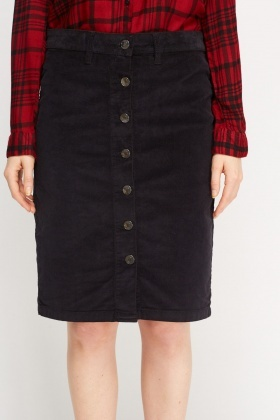 Cord Button Up Skirt