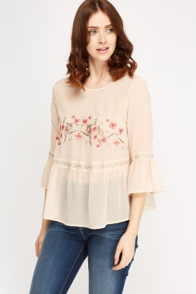 Flared Sleeve Embroidered Top