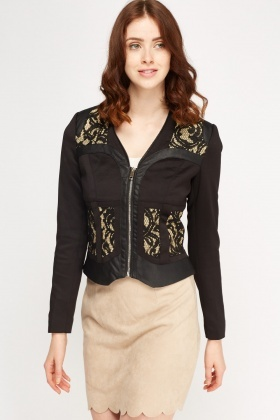Lace Insert Contrast Jacket