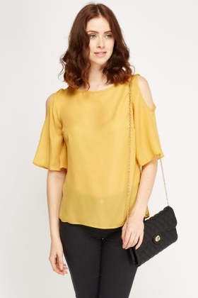 Sheer Cut Out Shoulder Top