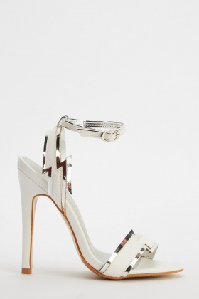 Metallic Trim Strap Heeled Sandals
