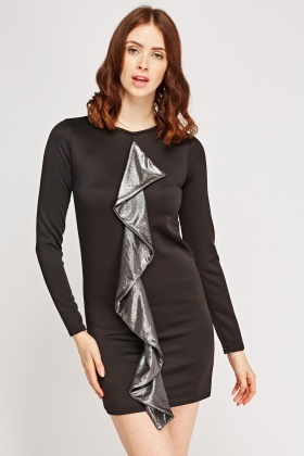 Contrast Flared Bodycon Dress
