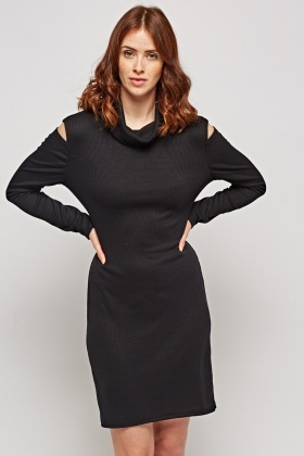 Cut Out Back Roll Neck Ribbed Dress