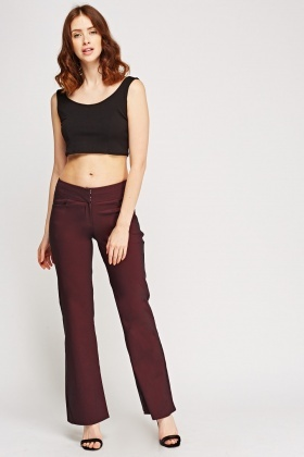 Fitted Waist Flared Hem Trousers