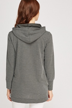 Hooded Textured Longline Top
