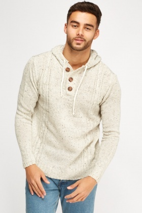Speckled Hooded Knitted Jumper