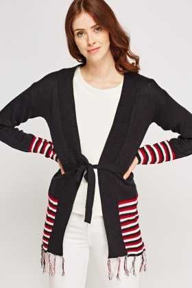 Striped Hem Fringed Cardigan
