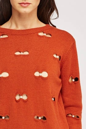Embellished Cut Out Bow Jumper