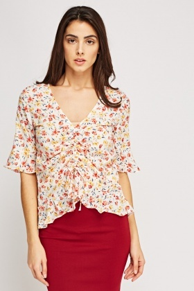 Floral Sheer Flared Trim Top