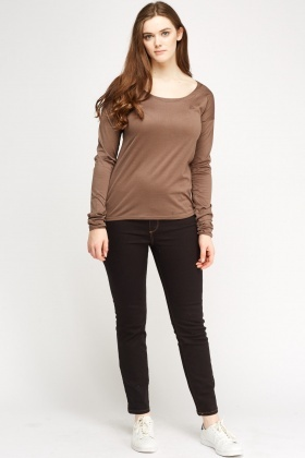 Lacoste Brown Long Sleeve Top