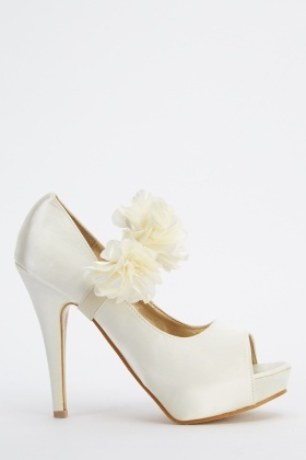 LYDC London 3D Flower Strap Sateen Heels