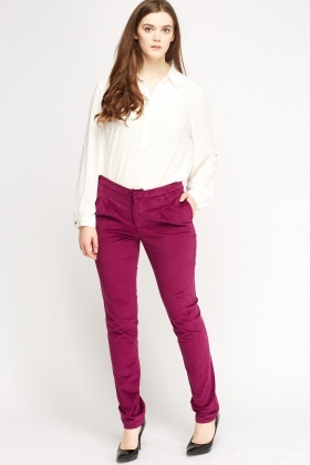 Magenta Cord Trousers