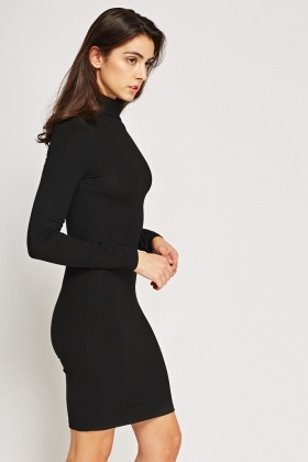 0ed4bcd43f2e Ribbed High Neck Bodycon Dress - Just £5