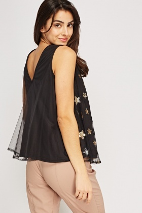 Sequin Mesh Overlay Star Top