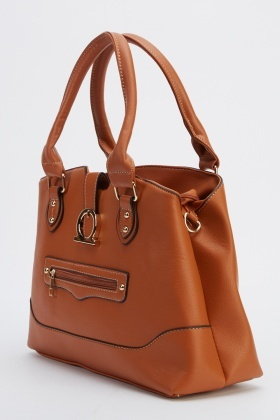 Faux Leather Detailed Handbag
