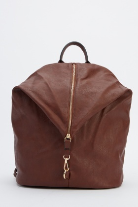 Faux Leather Zipped Backpack