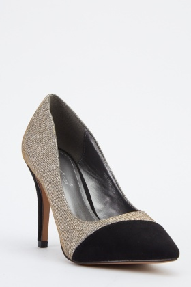 Textured Lurex Court Heels