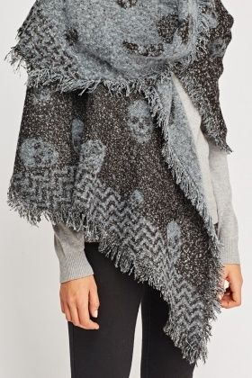 Fringed Trim Skull Scarf
