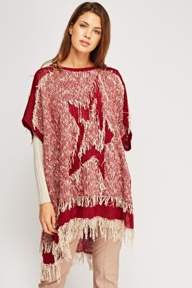 Star Knitted Fringed Poncho