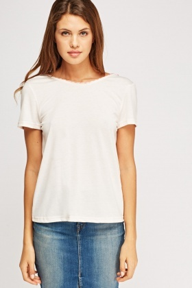 Tasseled Tie Up Neck T-Shirt