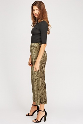 Wide Leg Velveteen Trousers