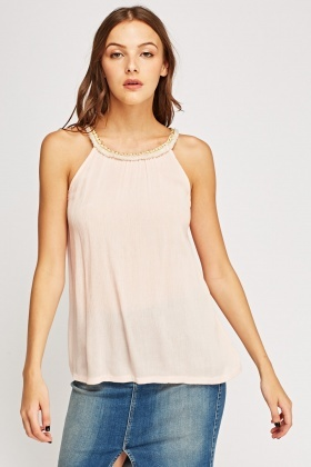 Frayed trim Sleeveless Top